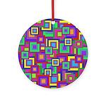 Retro Rainbow Squares Pattern Ornament (Round)