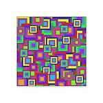 Retro Rainbow Squares Square Sticker 3