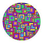 Retro Rainbow Squares Round Car Magnet