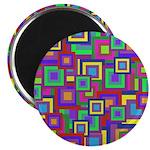 Retro Rainbow Squares Pattern Magnet