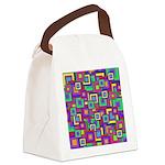 Retro Rainbow Squares Pattern Canvas Lunch Bag