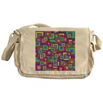 Retro Rainbow Squares Pattern Messenger Bag