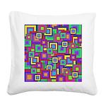 Retro Rainbow Squares Pattern Square Canvas Pillow