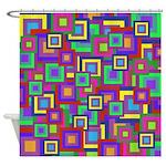 Retro Rainbow Squares Pattern Shower Curtain