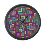 Retro Rainbow Squares Pattern Large Wall Clock