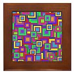 Retro Rainbow Squares Pattern Framed Tile