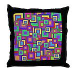 Retro Rainbow Squares Pattern Throw Pillow