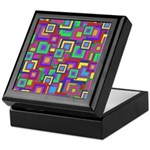 Retro Rainbow Squares Pattern Keepsake Box