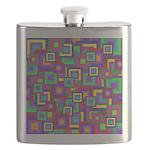 Retro Rainbow Squares Pattern Flask