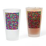 Retro Rainbow Squares Pattern Drinking Glass