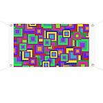 Retro Rainbow Squares Pattern Banner