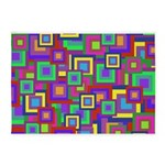 Retro Rainbow Squares Pattern 5'x7'Area Rug