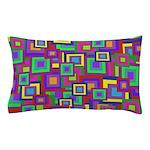 Retro Rainbow Squares Pattern Pillow Case