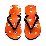 Orange and White Star Pattern Flip Flops