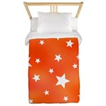 Orange and White Star Pattern Twin Duvet