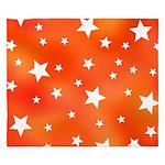 Orange and White Star Pattern King Duvet