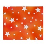 Orange and White Star Pattern Throw Blanket