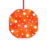Orange and White Star Pattern Ornament (Round)