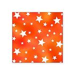 Orange and White Star Pattern Sticker