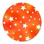 Orange White Star Pattern Round Car Magnet