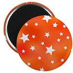 Orange White Star Pattern Magnet