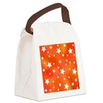 Orange and White Star Pattern Canvas Lunch Bag
