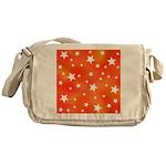 Orange and White Star Pattern Messenger Bag