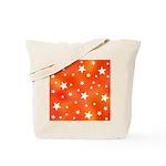 Orange and White Star Pattern Tote Bag
