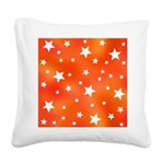 Orange and White Star Pattern Square Canvas Pillow