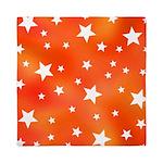 Orange and White Star Pattern Queen Duvet