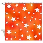 Orange and White Star Pattern Shower Curtain