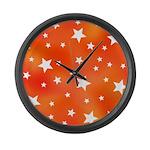 Orange and White Star Pattern Large Wall Clock