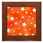 Orange and White Star Pattern Framed Tile