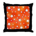 Orange and White Star Pattern Throw Pillow