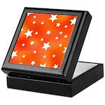 Orange and White Star Pattern Keepsake Box