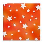 Orange and White Star Pattern Tile Coaster
