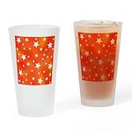 Orange and White Star Pattern Drinking Glass