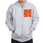 Orange and White Star Pattern Zip Hoodie