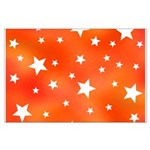 Orange and White Star Pattern Posters