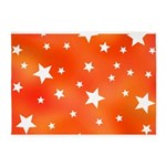 Orange and White Star Pattern 5'x7'Area Rug