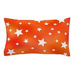 Orange and White Star Pattern Pillow Case