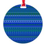 Blue and Green Stripy Stars and Spots Pattern Orna