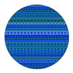 Blue and Green Stripy Stars and Spots Pattern Roun