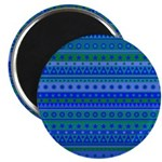 Blue and Green Stripy Stars and Spots Pattern 2.25