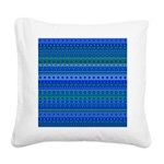 Blue and Green Stripy Stars and Spots Pattern Squa