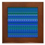 Blue and Green Stripy Stars and Spots Pattern Fram