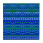 Blue and Green Stripy Stars and Spots Pattern Tile