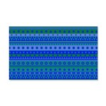 Blue and Green Stripy Stars and Spots Pattern Wall