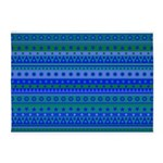 Blue and Green Stripy Stars and Spots Pattern 5'x7