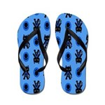 Kawaii Blue Cat and Paw Print Pattern Flip Flops